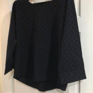 Black J Crew top with velvet polka dots
